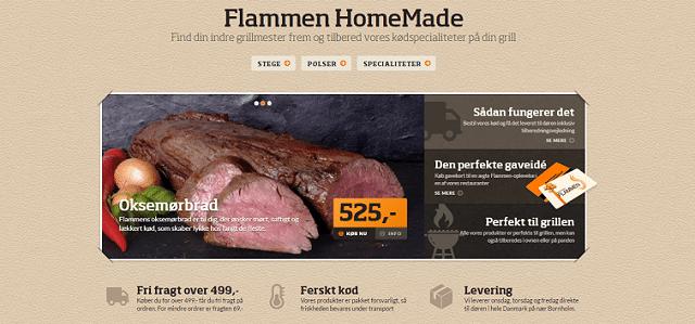 Flammen HomeMade – Webshop med stege og pølser